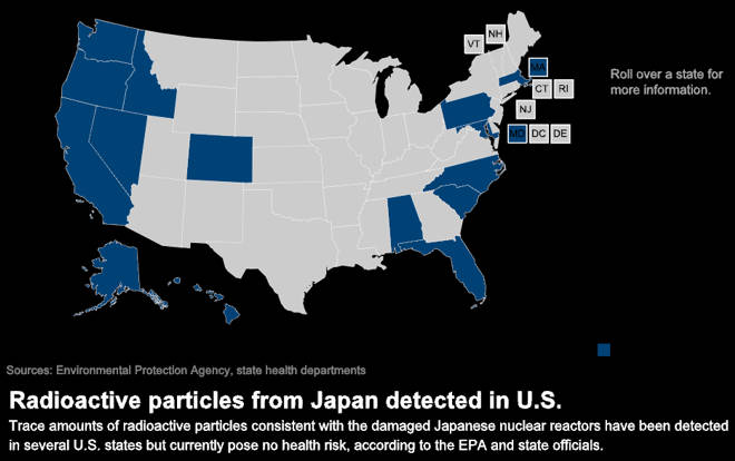Japan Disaster Agriculture Defense Coalition - Radiation map us